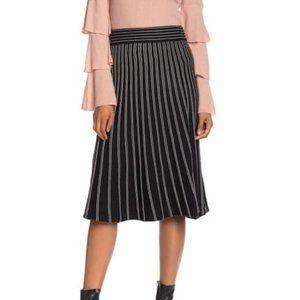 Max Studio Striped Sweater Knit Midi Skirt